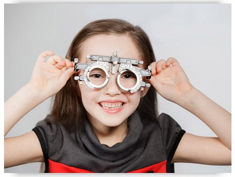Girl Wearing a Trial Frame During an Eye Examination